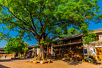 Sideng Square in the market town of Shaxi, on the Tea Horse Caravan Road, which links Southern Yunnan to Tibet and Burma and retains its position as one of the best preserved historic market hubs today. Yunnan Province, China.