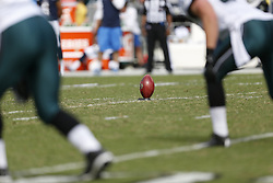 An NFL Football is seen on the field during the NFL game between the San Diego Chargers and the Philadelphia Eagles in Philadelphia. The Chargers won 33-30. (Photo by Brian Garfinkel)