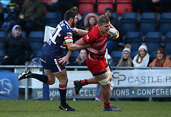 Joe Batley of Bristol Rugby is tackled by Declan Cusack of Doncaster Knights - Mandatory by-line: Robbie Stephenson/JMP - 13/01/2018 - RUGBY - Castle Park - Doncaster, England - Doncaster Knights v Bristol Rugby - B&I Cup