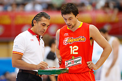 15.08.2010, Logroo, ESP, Friendly Basketball LS, Spain vs Argentia, im Bild Spain's coach Sergio Scariolo (l) and Sergio LLull during Friendly match. EXPA Pictures © 2010, PhotoCredit: EXPA/ Alterphotos/ Acero +++++ ATTENTION - OUT OF SPAIN +++++