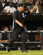 CHICAGO - AUGUST 23:  Manager Rick Renteria #36 of the Chicago White Sox makes a pitching change against the Texas Rangers during Players Weekend on August 23, 2019 at Guaranteed Rate Field in Chicago, Illinois.  (Photo by Ron Vesely)  Subject:   Ricky Renteria