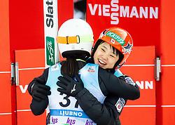 Sara Takanashi of Japan and Yuki Ito of Japan celebrate during 2nd Round at Day 1 of World Cup Ski Jumping Ladies Ljubno 2019, on February 8, 2019 in Ljubno ob Savinji, Slovenia. Photo by Matic Ritonja / Sportida