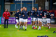 06/10/2020: Dundee FC train at Kilmac Stadium after their Betfred Cup match against Forfar Athletic was postponed due to a positive COVID test result for one of the Forfar players: Cammy Kerr and Christie Elliott lead the way during the warm up  <br /> <br /> <br />  :©David Young: davidyoungphoto@gmail.com: www.davidyoungphoto.co.uk