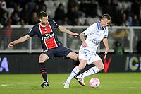 FOOTBALL - FRENCH CHAMPIONSHIP 2011/2012 - L1 - AJ AUXERRE v PARIS SAINT GERMAIN  - 15/04/2012 - PHOTO JEAN MARIE HERVIO / REGAMEDIA / DPPI - ANTHONY LE TALLEC (AJA) / THIAGO MOTTA (PSG)