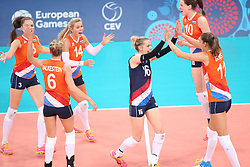 20150619 AZE: 1ste European Games Baku Servie - Nederland, Bakoe<br /> Nederland verslaat Servie met 3-2 / Yvon Belien #3, Laura Dijkema #14, Debby Pilon-Stam #16, Lonneke Sloetjes #10
