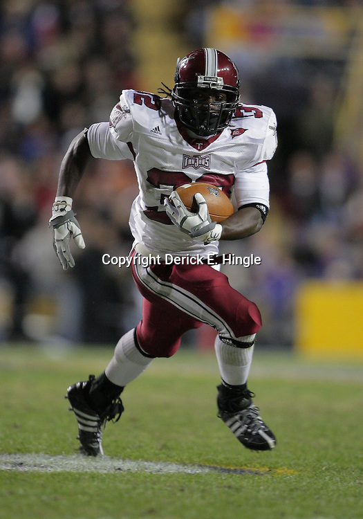 15 November 2008: Troy running back DuJuan Harris (32) in action during the first half of the NCAA football game between the Troy Trojans and the LSU Tigers at Tiger Stadium in Baton Rouge, LA.