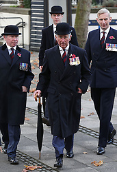 The Prince of Wales (centre) arrives at Wellington Barracks in London for a service at the Guards' Chapel and to lay a wreath at the Guards' Memorial for the Welsh Guards' Regimental Remembrance Sunday.