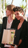 Claire Burger and Marie Amachoukeli winner of Caméra d'or for the film Party Girl at the Palme d'Or winners photo call at the 67th Cannes Film Festival, Saturday 24th May 2014, Cannes, France.