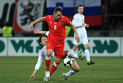 Robert Koren of Slovenia vs Jan Polak of Czech Republic at the 8th day qualification game of 2010 FIFA WORLD CUP SOUTH AFRICA in Group 3 between Slovenia and Czech Republic at Stadion Ljudski vrt, on March 28, 2008, in Maribor, Slovenia. Slovenia vs Czech Republic 0 : 0. (Photo by Vid Ponikvar / Sportida)