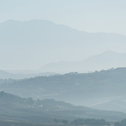 The low mountains on the skyline at Temecula, Calfornia, in the haze and early morning light.