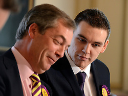 © Licensed to London News Pictures. 26/04/2012. London, UK . (left to right) Nigel Farage MEP and leader of UKIP and Michael Heaver Chairman of UKIP's youth wing. The UK Independence Party (UKIP) local election campaign launch at St Stephen's Club, Central London. Photo credit : Stephen Simpson/LNP