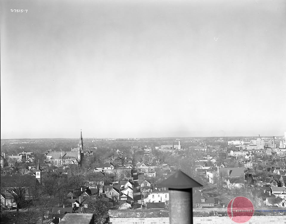 This 1941 image was taken from the roof of Studebaker building 84 and faces north. St. Patrick's church steeple is visible to the left.