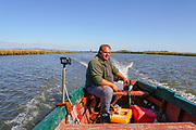 Boat ride at the Delta of Evros river, Thrace (Thraki), Greece.