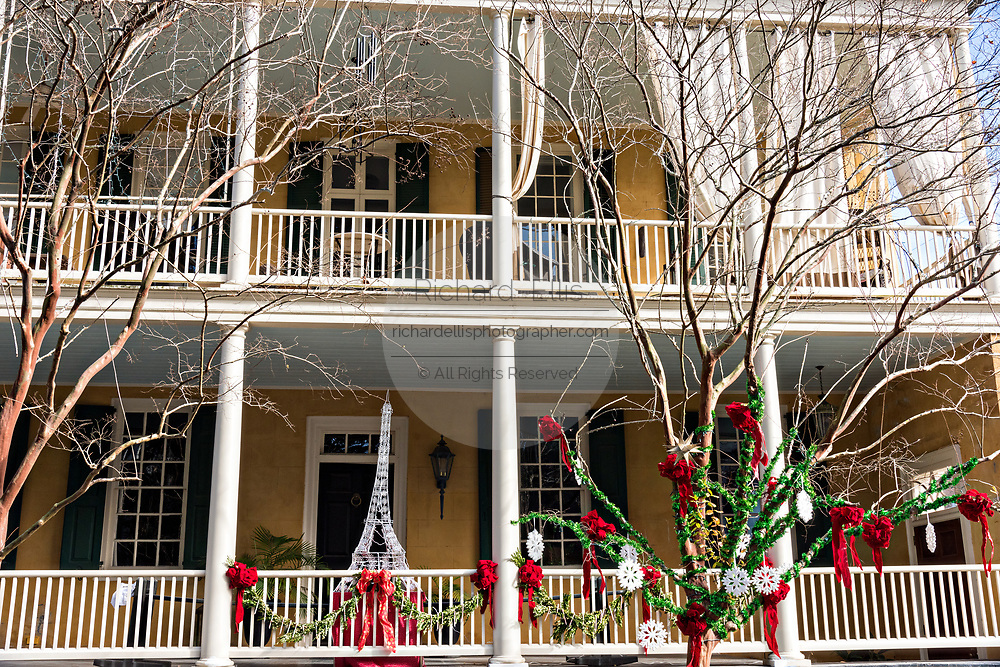 A historic home decorated for Christmas on Lagare Street in Charleston, SC.