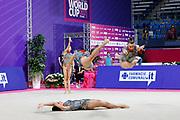 The national team of Bulgaria during team final at the Pesaro World Championships at Virtifigo Arena, May 30, 2021