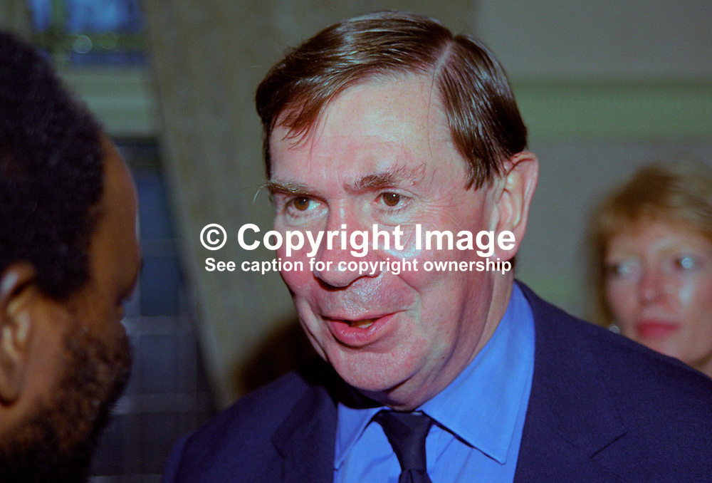 Lord Irvine of Lairg, Lord Chancellor, Britain's most senior law officer. AKA Derry Irvine. Ref:199909267. Labour Party Annual Conference, Bournemouth, England..<br /> <br /> Copyright Image from Victor Patterson, Belfast, UK<br /> <br /> t: +44 28 9066 1296 (from Rep of Ireland 048 9066 1296)<br /> m: +44 7802 353836<br /> e: victorpattersonbelfast@gmail.com<br /> <br /> www.images4media.com<br /> <br /> Please see my full Terms and Conditions of Use at https://www.images4media.com/p/terms-conditions - it is IMPORTANT that you familiarise yourself with them.<br /> <br /> Images used online incur an additional cost. This cost should be agreed in writing in advance. Online images must be visibly watermarked i.e. © Victor Patterson or that of the named photographer within the body of the image. The original metadata must not be deleted from images used online.<br /> <br /> This image is only available for the use of the download recipient i.e. television station, newspaper, magazine, book publisher, etc, and must not be passed on to a third party. It is also downloaded on condition that each and every usage is notified within 7 days to victorpattersonbelfast@gmail.com.<br /> <br /> The right of Victor Patterson (or the named photographer) to be identified as the author is asserted in accordance with The Copyright Designs And Patents Act (1988). All moral rights are asserted.