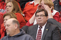 18 March 2015:   Illinois State University President Larry Dietz during an NIT men's basketball game between the Green Bay Phoenix and the Illinois State Redbirds at Redbird Arena in Normal Illinois