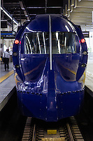 """Rapi:t is an express train service between Kansai International Airport  KIX and Namba Station Osaka operated by Nankai Railways. This retro looking yet futuristic train was designed by Wakabayashi Hiroyuki and won the Blue Ribbon Prize for design in 1995.  Its official name is Nankai 50000 though most people in Osaka call it """"rapido"""" though for some reason they spell it rapi:t"""