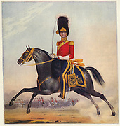 'Mounted officer of the 2nd Dragoons. Illustration by L. Mansion and L. Eschauzier for ''Military and Naval Costumes'', London, 1830-1840.'