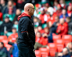 Shaun Edwards Defence Coach of Wales during the pre match warm up<br /> <br /> Photographer Simon King/Replay Images<br /> <br /> Six Nations Round 5 - Wales v Ireland - Saturday 16th March 2019 - Principality Stadium - Cardiff<br /> <br /> World Copyright © Replay Images . All rights reserved. info@replayimages.co.uk - http://replayimages.co.uk