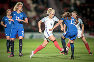 Rachel Daly (England) takes the ball past Amel Majri (France) during the International Friendly match between England Women and France Women at the Keepmoat Stadium, Doncaster, England on 21 October 2016. Photo by Mark P Doherty.
