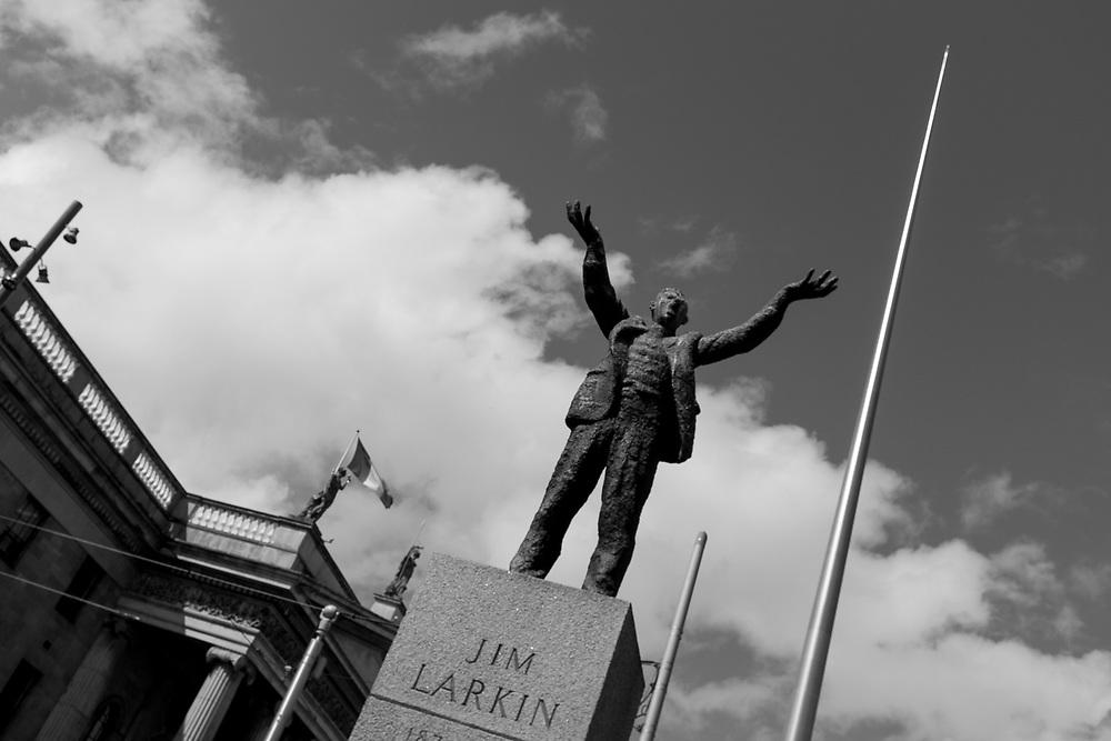 Jim Larkin statue in front of the Dublin Spire, Dublin, Ireland.