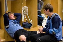 14 April 2008: North Carolina Tar Heels men's lacrosse defenseman Andrew Pyke (21) and midfielder Chris Hunt (37) during a practice day in Chapel Hill, NC.
