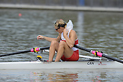Chungju, South Korea. Sunday Heats, CAN. LW1X. Patricia OBEE. moves away from the start on the opening day of the 2013 FISA World Rowing Championships, Tangeum Lake International Regatta Course. 10:32:54  Sunday  25/08/2013 [Mandatory Credit. Peter Spurrier/Intersport Images]