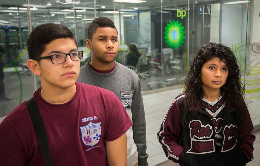Reagan High School students tour the High Performance Computing Center at BP's Westlake facilities, February 12, 2014.