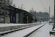 Passengers line up to catch Portland's MAX as the metro area is paralized by snow.