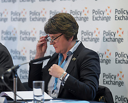 DUP leader Arlene Foster spoke at a fringe event the Conservative Party conference in Manchester, organised by the Policy Exchange, on abolishing the Northern Irish backstop.<br /> <br /> © Dave Johnston / EEm