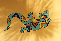 North America, United States, Arizona, Tucson, paintiing of gecko on wall
