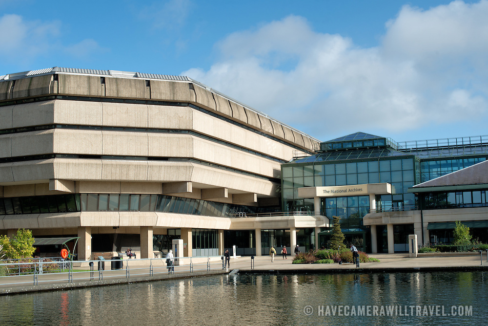 The exterior of The National Archives building at Kew. The National Archives was previously known as the Public Record Office and is the official repository of records from the government of the United Kingdom.