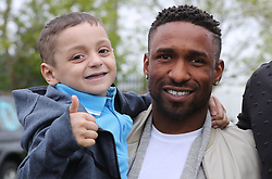 England footballer Jermain Defoe with terminally ill football mascot Bradley Lowery, as he celebrates his sixth birthday at Blackhall Cricket Club near Durham.