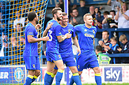 AFC Wimbledon Forward Cody McDonald (10) scores the opening goal during the Pre-Season Friendly match between AFC Wimbledon and Watford at the Cherry Red Records Stadium, Kingston, England on 15 July 2017. Photo by Jon Bromley.