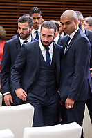 Real Madrid Nacho Fernandez, Daniel Carvajal and Carlos Henrique Casemiro during visit to Madrid Council during  the celebration of the 13th UEFA Championship in Madrid, June 04, 2017. Spain.<br /> (ALTERPHOTOS/BorjaB.Hojas)