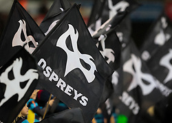 A general view of Liberty Stadium, home of Ospreys the Guard of Honour wave flags<br /> <br /> Photographer Simon King/Replay Images<br /> <br /> EPCR Champions Cup Round 4 - Ospreys v Northampton Saints - Sunday 17th December 2017 - Parc y Scarlets - Llanelli<br /> <br /> World Copyright © 2017 Replay Images. All rights reserved. info@replayimages.co.uk - www.replayimages.co.uk