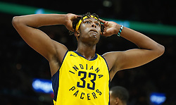 April 18, 2018 - Cleveland, OH, USA - The Indiana Pacers' Myles Turner reacts to the close game against the Cleveland Cavaliers in the fourth quarter in Game 2 of a first-round NBA playoff series on Wednesday, April 18, 2018, at the Quicken Loans Arena in Cleveland. The Cavs won, 100-97, to even the series. (Credit Image: © Leah Klafczynski/TNS via ZUMA Wire)
