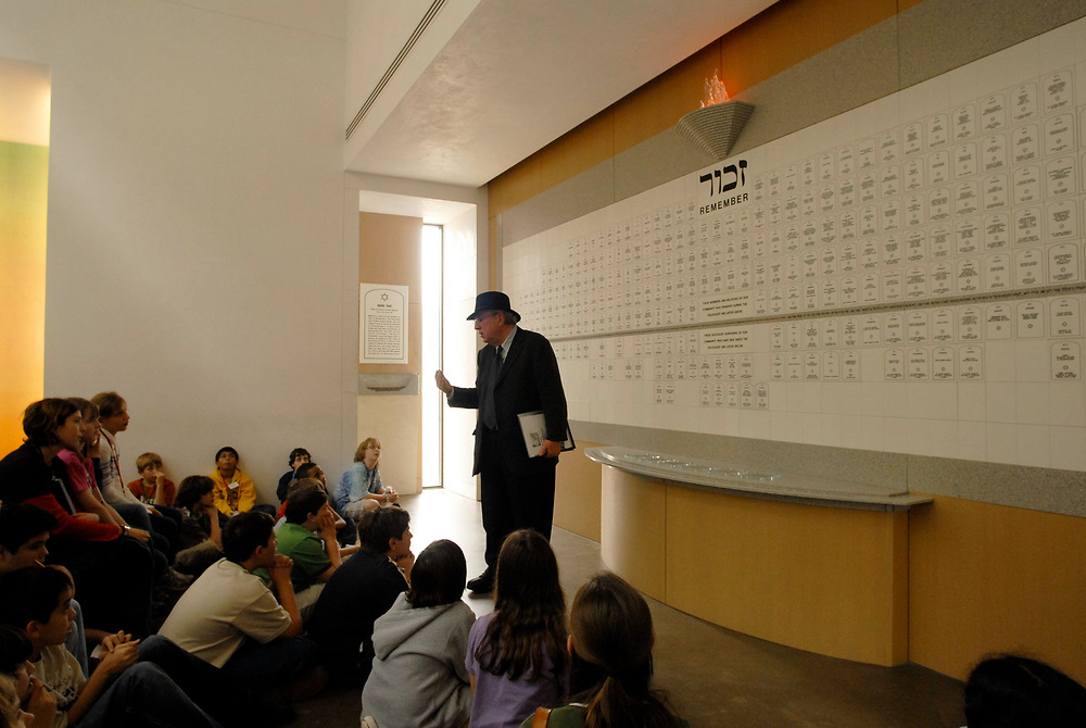 Houston, TX March 1, 2006: Sixth grade honors students visit the Holocaust Museum in Houston, TX as part of a field trip in American history. Students reviewed a timeline of holocaust events along with a remembrance wall and garden. <br /> ©Bob Daemmrich