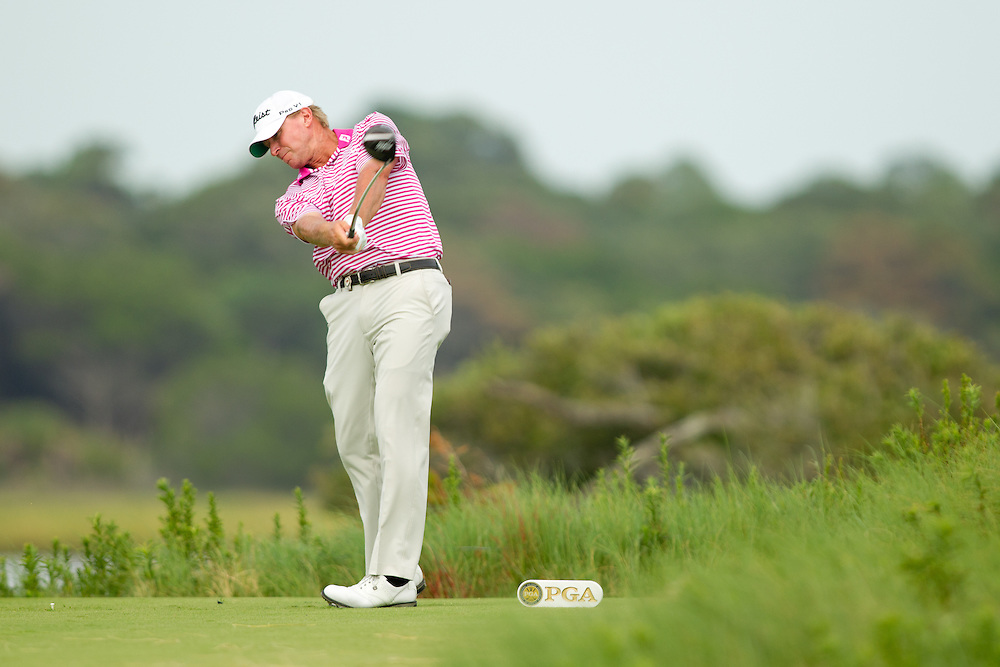 KIAWAH ISLAND, SC - AUGUST 12:  Steve Stricker plays a tee shot during the final round of the 2012 PGA Championship at The Ocean Course on Kiawah Island, South Carolina on August 12, 2012. (Photograph ©2012 Darren Carroll) *** Local Caption *** Steve Stricker