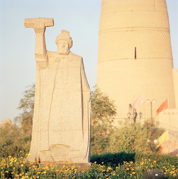 Statue of Emin Khoja, a local general of Turpan, Silk Route, Turpan, Xinjiang Province, China