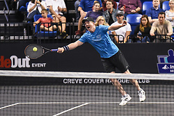 October 4, 2018 - St. Louis, Missouri, U.S - JIM COURIER reaches to try to return the ball during the Invest Series True Champions Classic on Thursday, October 4, 2018, held at The Chaifetz Arena in St. Louis, MO (Photo credit Richard Ulreich / ZUMA Press) (Credit Image: © Richard Ulreich/ZUMA Wire)
