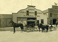 1910 Carriages in front of the Sunset Livery & Boarding Stable on Sunset Blvd., just west of Cahuenga Ave.