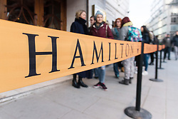 © Licensed to London News Pictures. 19/12/2017. London, UK. People queue up outside the Apollo Theater in the hope of buying box office tickets for the Hamilton musical. Lin-Manuel Miranda's hip hop musical about the American Founding Father Alexander Hamilton has won 11 Tony Awards and a Pulitzer Prize last year.  The London opening is Thursday 21st December and the production run has already sold out. Photo credit: Ray Tang/LNP
