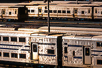 Long Island Railroad trains in train yard on the west side of Manhattan, New York, NY USA.