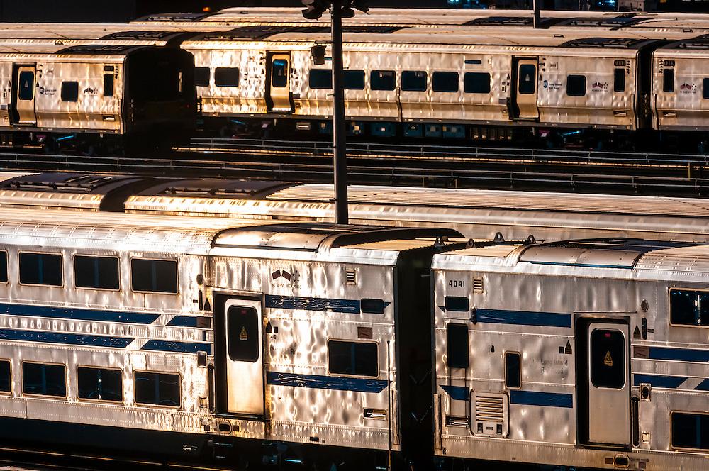 Long Island Railroad trains in train yard on the west side of Manhattan, New York, NY USA.