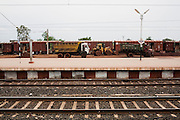 Chandrapur stn. Maharashtra on 8th July 2009.. .6318 / Himsagar Express, India's longest single train journey, spanning 3720 kms, going from the mountains (Hima) to the seas (Sagar), from Jammu and Kashmir state of the Indian Himalayas to Kanyakumari, which is the southern most tip of India...Photo by Suzanne Lee / for The National