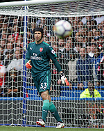 Petr Cech, the goalkeeper of Arsenal looks on.  Premier league match, Chelsea v Arsenal at Stamford Bridge in London on Sunday 17th September 2017.<br /> pic by Kieran Clarke, Andrew Orchard sports photography.