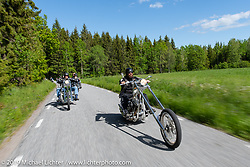 """Jan Johansson riding his 26"""" over Harley-Davidson Evo Swedish style chopper on the Twin Club ride out from the club house in Norrtälje after their annual Custom Bike Show. Sweden. Sunday, June 2, 2019. Photography ©2019 Michael Lichter."""