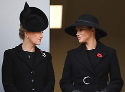 Members of The Royal Family attend the Remembrance Sunday Service at The Cenotaph, Whitehall, London, UK, on the 10th November 2019. 10 Nov 2019 Pictured: Sophie, Countess of Wessex, Meghan Markle, Duchess of Sussex. Photo credit: James Whatling / MEGA TheMegaAgency.com +1 888 505 6342